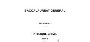 Sujet de Spécialité Physique-Chimie Bac S 2013