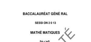 Sujet Mathématiques Spécialité Bac S 2013