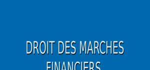 Droit des marchés financiers