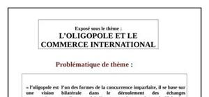 L'oligopole et le commerce international
