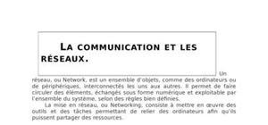 La communication et les réseaux