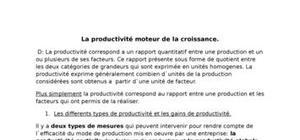 La productivité moteur de la croissance