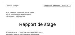 Rapport de stage bts