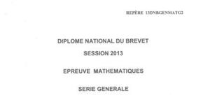 Sujet Maths Brevet Pondichéry 2013