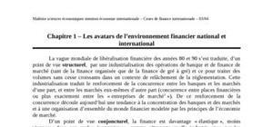 Les avatars de l'environnement financier national et  international
