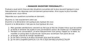 Personality manager questionnaire