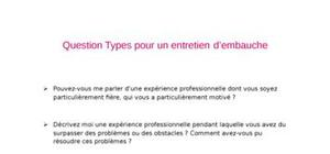 Question type entretiens d'embauche