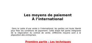 les moyens de paiement  À l'international