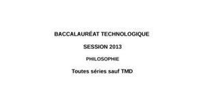 Sujet de Philosophie Bac STG 2013