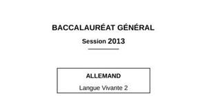 Sujet Allemand LV2 Bac ES 2013