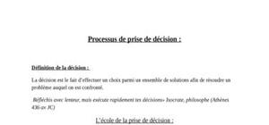 Processus de prise de décision