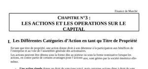Action et opérations sur capital
