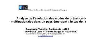 Analyse de l'évolution des modes de présence des multinationales dans un pays émergent : le cas de la tunisie