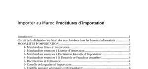 Les peocédures d'imporation et d'exportation au maroc dans un ère de mondialisation