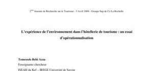 L'expérience de l'environnement dans l'hôtellerie de tourisme : un essai d'opérationnalisation