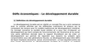 Défis economiques: le développement durable