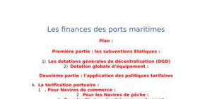 Les finances des ports maritimes
