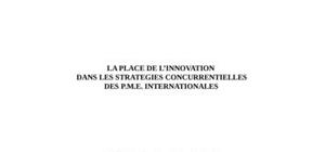 La place de l'innovation dans les strategies concurrentielles