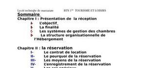 Gestion des activités de l'hébergement  resume theorique & pratique