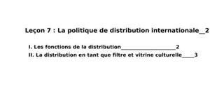 La politique de distribution internationale