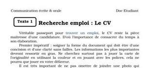 Recherche emploi : le cv