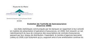 Evolution de l'activité de bancassurance 2008