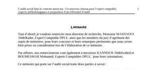 L'audit social dans le contexte marocain - un nouveau créneau pour l'expert comptable, aspects méthodologiques et proposition d'un référentiel d'audit