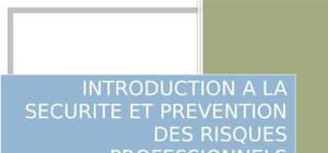 Introduction a la securite et prevention des risques professionnels