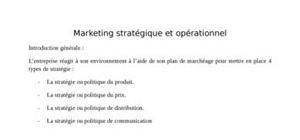 Marketing opérationnel et stratégique