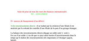suite de prise de note du cours des finances internationales