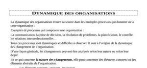 Dynamique des organisations