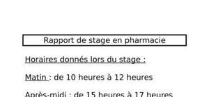Rapport de stage en pharmacie