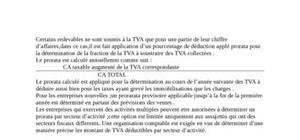 Prorata de la taxe sur la valeur ajouté