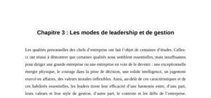 Les modes de leadership et de gestion