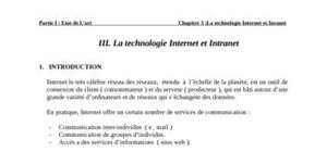 La technologie internet et intranet