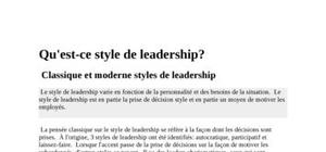 Les styles du leadership