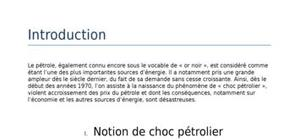Les chocs pétroliers et le problèmes d'énergie