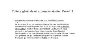Culture générale et expression écrite devoir 3