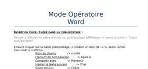 Mode opératoire word