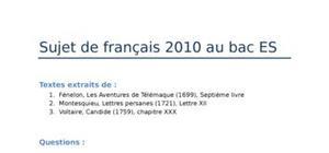 Sujet de français : BAC ES 2010