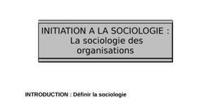 Initiation à la sociologie des organisations