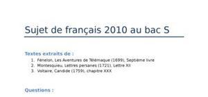Sujet Bac S de Français 2010
