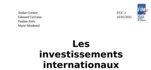 Les investissements internationaux en chine