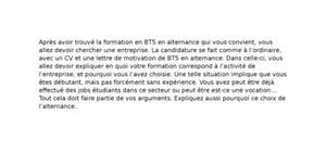Lettre de Motivation BTS Alternance