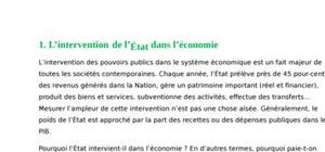 Intervention de l'etat dans l'economie