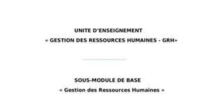 Cours de la gestion  de ressource humain