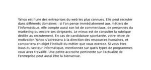Lettre de Motivation Yahoo