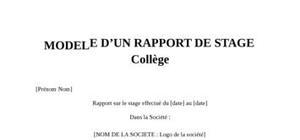 Rapport de Stage Collège