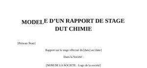 Rapport de Stage DUT Chimie
