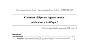 Comment rédiger un rapport ou une publication scientifique ?